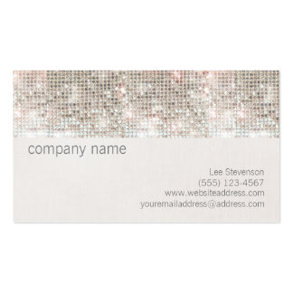 Cute Fun Silver Sparkly Faux Sequin and Linen Double-Sided Standard Business Cards (Pack Of 100)