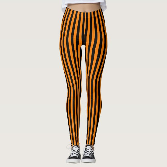 Cute Fun Striped Halloween Black and Orange Leggings