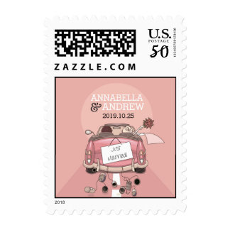 """Cute Fun Typography """"Just Married"""" Personalized Postage"""