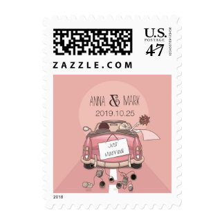 """Cute Fun Typography """"Just Married"""" Personalized Postage Stamp"""