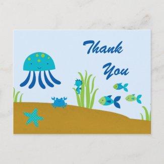 Cute fun under the sea thank you postcard postcard