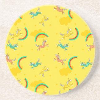Cute Fun Unicorns rainbow cartoon pattern Coaster