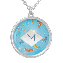 Cute Fun Unicorns rainbow pattern monogram Silver Plated Necklace