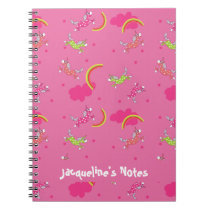 Cute Fun Unicorns rainbow pink cartoon pattern Notebook
