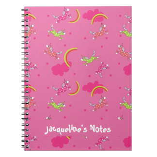 Cute Fun Unicorns rainbow pink cartoon pattern Spiral Notebook