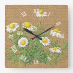 Cute Fun Vintage Camomile Flowers Faux Jute Burlap Square Wall Clock