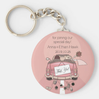 Cute Fun Wedding Car Cans Bride Groom Favors Keychain