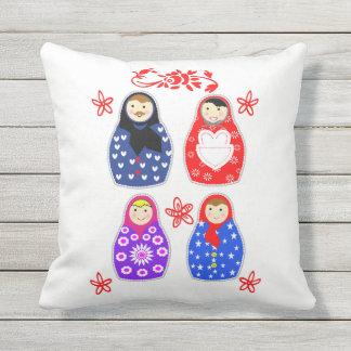 Cute Fun Whimsy Matryoshka Russian Doll Graphic Throw Pillow