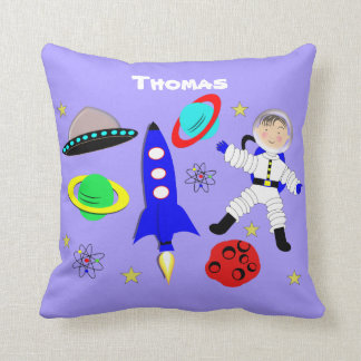 Cute Fun Whimsy Space Themed Personalized Pillow