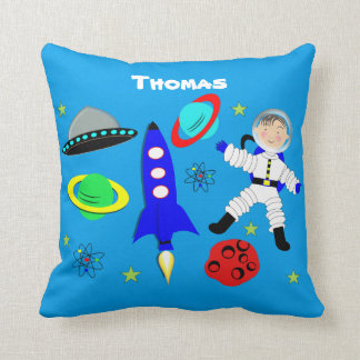 Cute Fun Whimsy Space Themed Personalized Throw Pillow