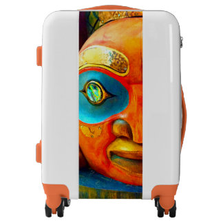 Cute fun wild fierce carved wood totem face photo luggage