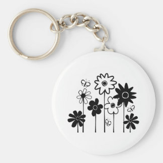 Cute Funky Assorted Flowers With Butterflies Keychain