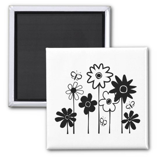Cute Funky Assorted Flowers With Butterflies Magnet