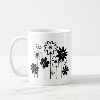 Cute Funky Assorted Flowers With Butterflies mug