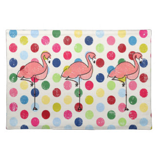 Cute Funky Flamingos Colorful Polka Dots Cloth Placemat