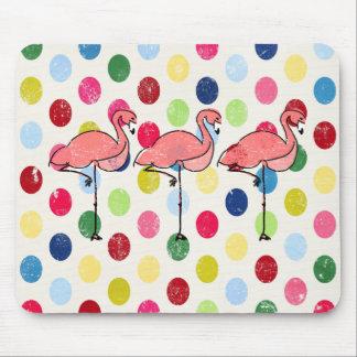 Cute Funky Flamingos Colorful Polka Dots Mouse Pad