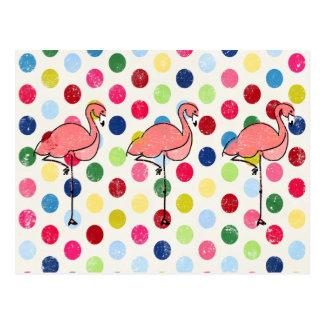 Cute Funky Flamingos Colorful Polka Dots Postcard