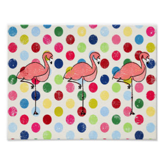 Cute Funky Flamingos Colorful Polka Dots Poster