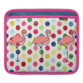 Cute Funky Flamingos Colorful Polka Dots Sleeve For iPads