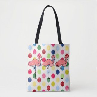 Cute Funky Flamingos Colorful Polka Dots Tote Bag