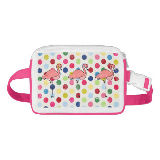 Cute Funky Flamingos Colorful Polka Dots Waist Bag