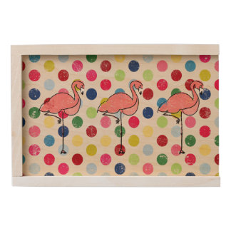Cute Funky Flamingos Colorful Polka Dots Wooden Keepsake Box