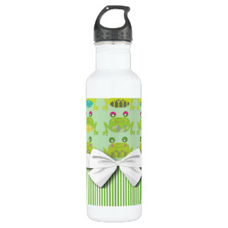 cute funky happy frogs and stripes 24oz water bottle