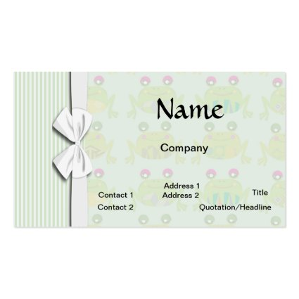 cute funky happy frogs and stripes business card