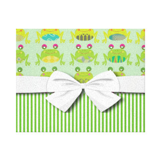 cute funky happy frogs and stripes canvas print