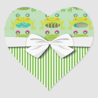 cute funky happy frogs and stripes heart sticker