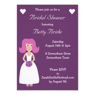 "Cute & Funky Luxury Purple Linen Bridal Shower 5"" X 7"" Invitation Card"