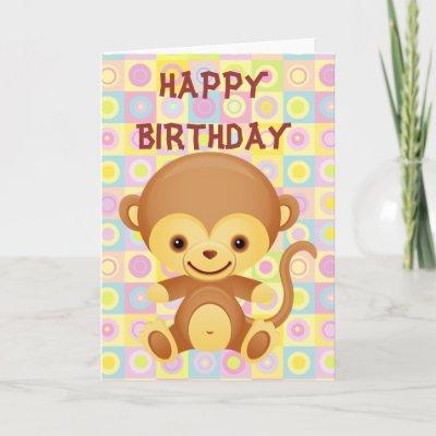 Cute Funky Pattern Monkey Design Birthday Card featurin