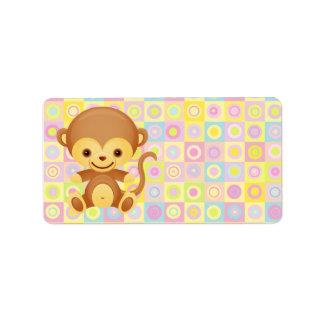 Cute Funky Pattern Monkey Personalized Address Labels