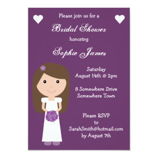 "Cute & Funky purple Bridal Shower invitations 5"" X 7"" Invitation Card"