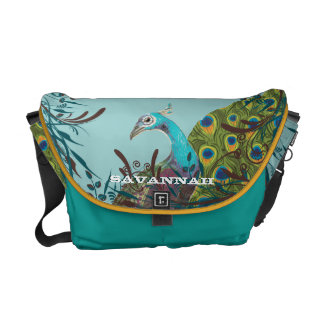Cute Funky Vintage Peacock You Choose Colors Courier Bag