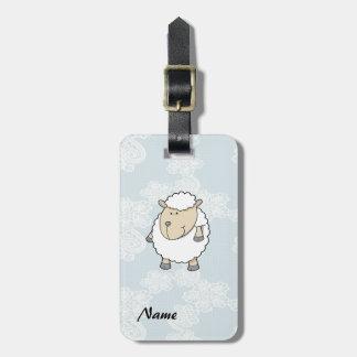 Cute funny adorable sheep monogram luggage tag