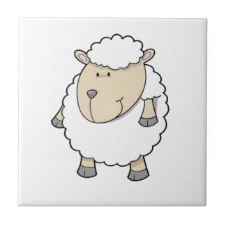 Cute funny adorable sheep monogram tiles