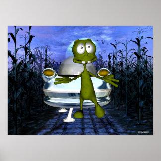 Cute funny alien u f o in cornfield 1 posters