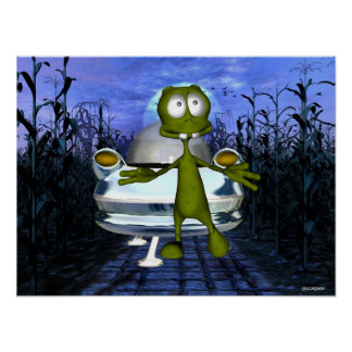 Cute funny alien u.f.o in cornfield 1 posters