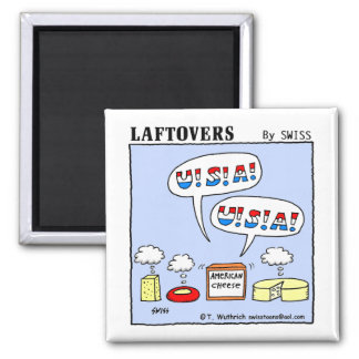 Cute Funny American Cheese Cartoon Fridge 2 Inch Square Magnet