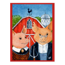 Cute Funny American Gothic spoof pig farm postcard