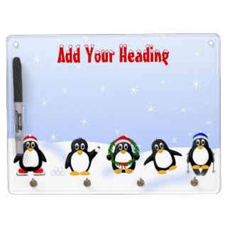 Cute, Funny and Crazy Cartoon Penguins 3 Dry Erase Board With Keychain Holder