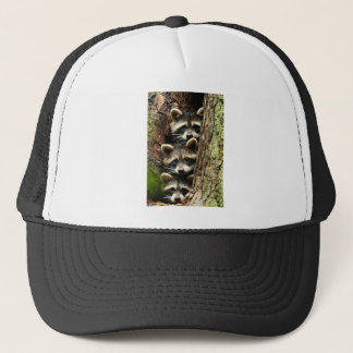 cute_funny_animals_41 Three Raccons Tree trunk Trucker Hat
