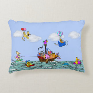 Cute & Funny Animals on Pirate Ship Accent Pillow