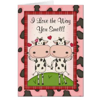 Cute Funny Awkward I Love You Cartoon Cattle Cards