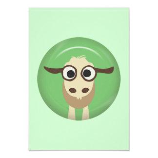 CUTE FUNNY BABY GOAT KID GREEN BEIGE  FARM CARTOON CARD