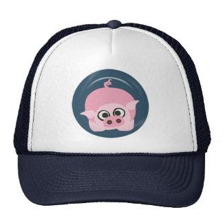 CUTE FUNNY BABY PIG PIGLET PINK BLUE  FARM CARTOON MESH HATS