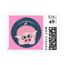 CUTE FUNNY BABY PIG PIGLET PINK BLUE  FARM CARTOON POSTAGE