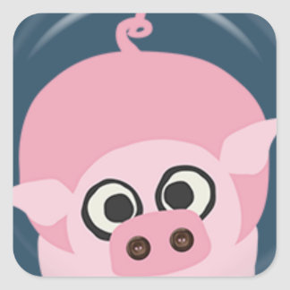 CUTE FUNNY BABY PIG PIGLET PINK BLUE  FARM CARTOON STICKER