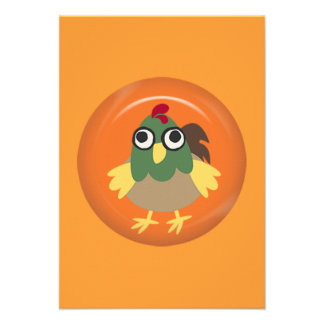CUTE FUNNY BABY ROOSTER CHICKEN ORANGE GREEN RED Y ANNOUNCEMENT